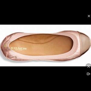 COACH Dahlia rose gold leather ballet flats,7!!